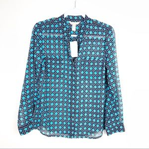 Banana Republic | Navy Teal Career Blouse Petite